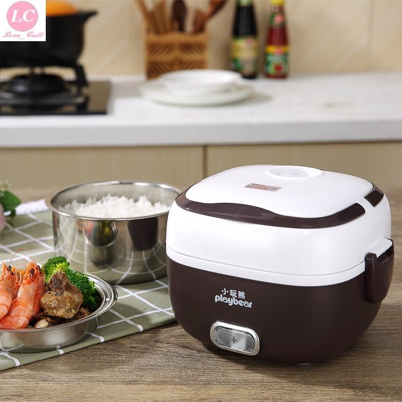الحرارية طباخ الأرز طباخ صغير الكهربائية وعاء عنبر مصغرة 1-2 الناس على البخار الأرز وعاء البيض باخرة الأرز طباخ حراري
