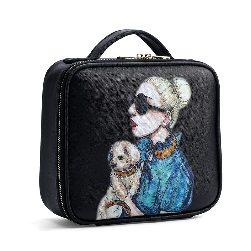 New Brand Makeup Box Artist Professional Beauty Cartoon Cosmetic Case Makeup Bag Tattoo Nail Multilayer Toolbox Storage Bag