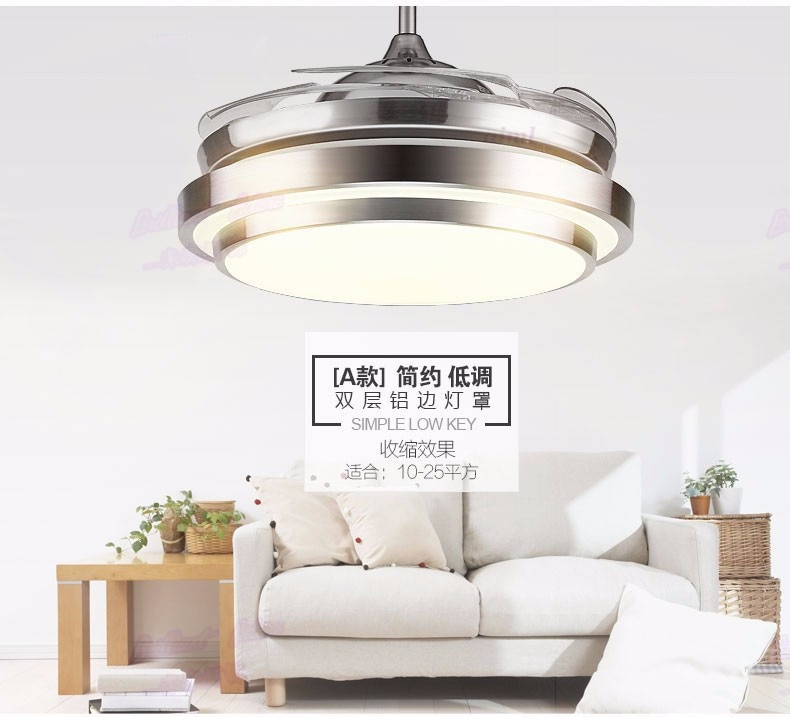 FAN LAMP 36 inch 4 Color Changing light Modern LED invisible ceiling fan light remote control ceiling lamp 90cm 48W / fan 60W.  - buy with discount