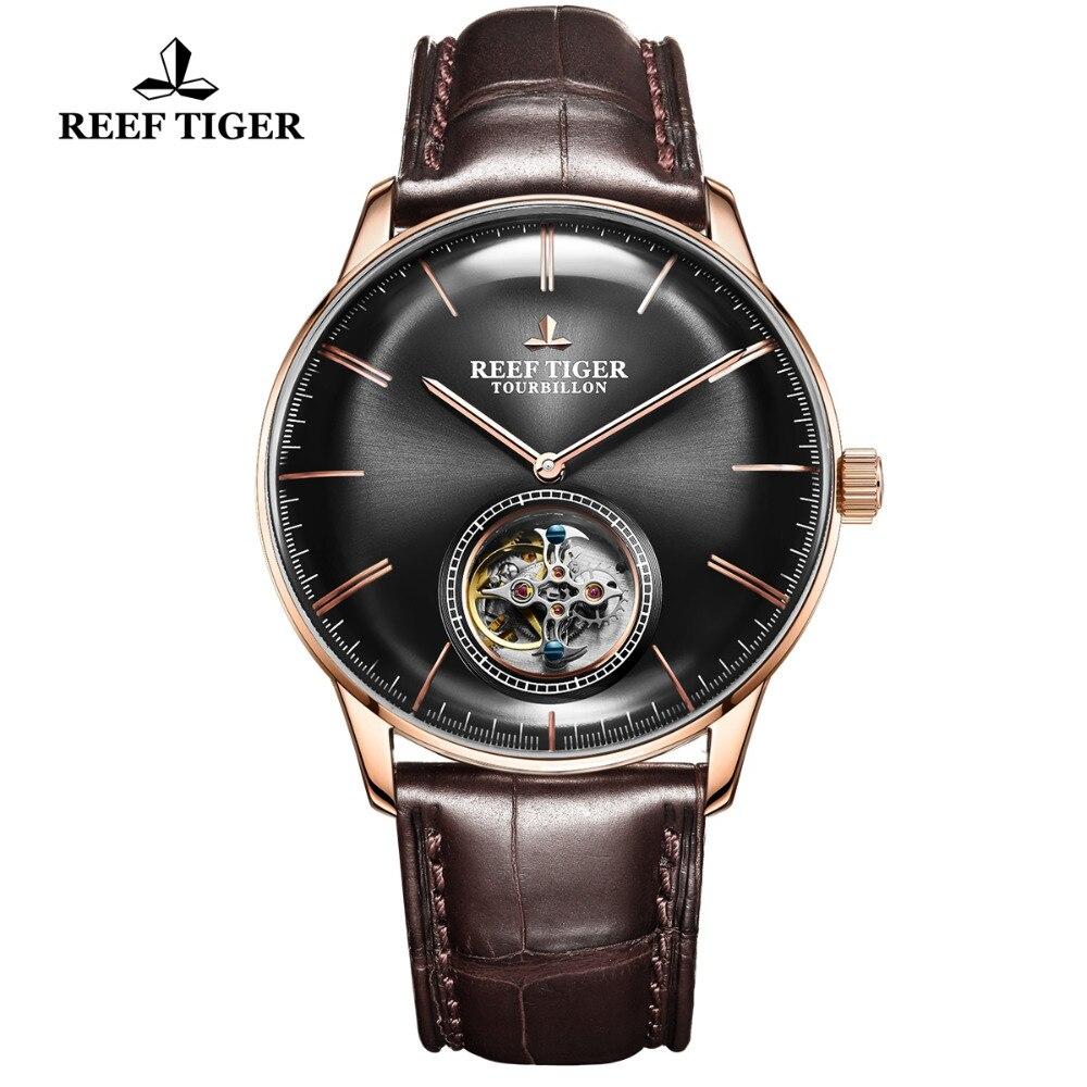 Marca de Luxo Mecânico para Homem Relógio à Prova Reef Tiger Tourbillon Relógio Rosa Ouro Pulseira Couro Dwaterproof Água Montre Homme Rga1930 – rt