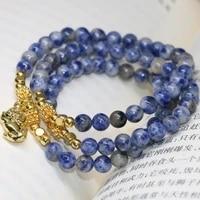 high grade unique fashion hot sale casscial natural blue spot round beads 6mm multilayer bracelets women new diy jewelry b2226