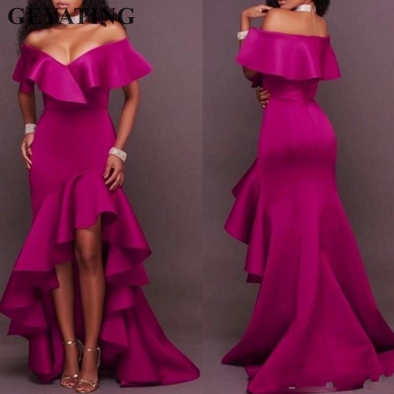 Fucsia satén Hi Low vestidos de dama de honor sirena 2020 elegante cuello pico de hombro volantes boda invitado vestido Formal vestidos de fiesta