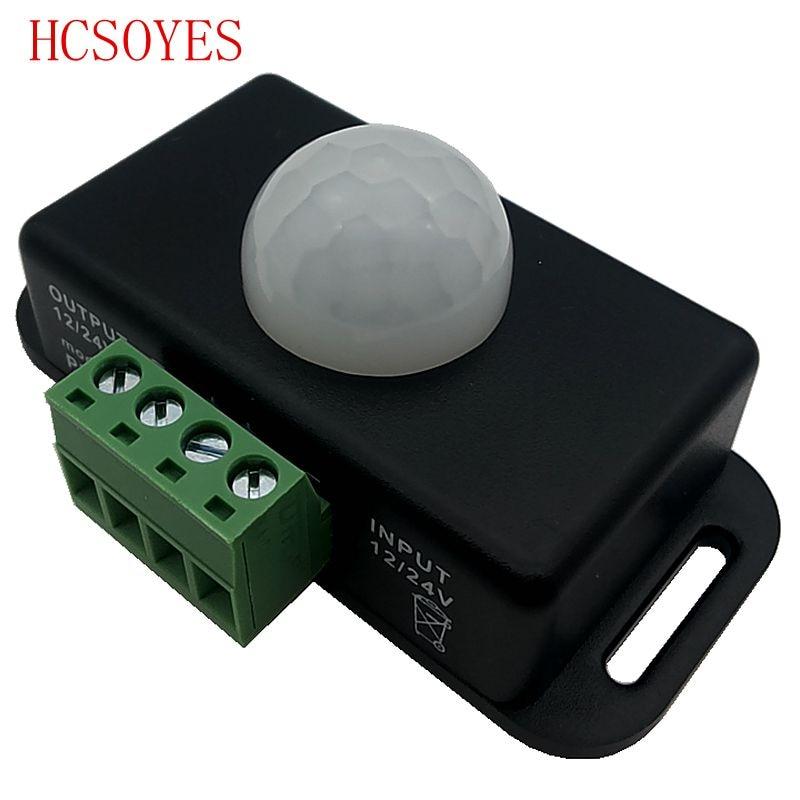 PIR Motion Sensor Detector Switch12V 24V Mini for LED Strip Ruban Light Tape SMD 5050 3528 Infrared Detection 6A 12 Volt 24Volt