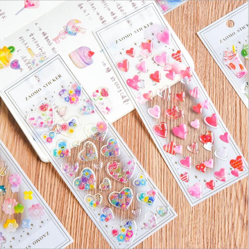 Kawaii 3D coeur cristal autocollant transparent décoration album de bricolage agenda planificateur scrapbooking étiquette autocollant