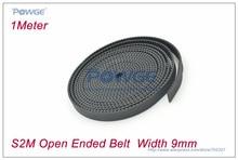 1Meter STD S2M Open timing belt width 9mm Neoprene with Fiberglass STS S2M-9 Timing Belt Small backlash for 3D Printer
