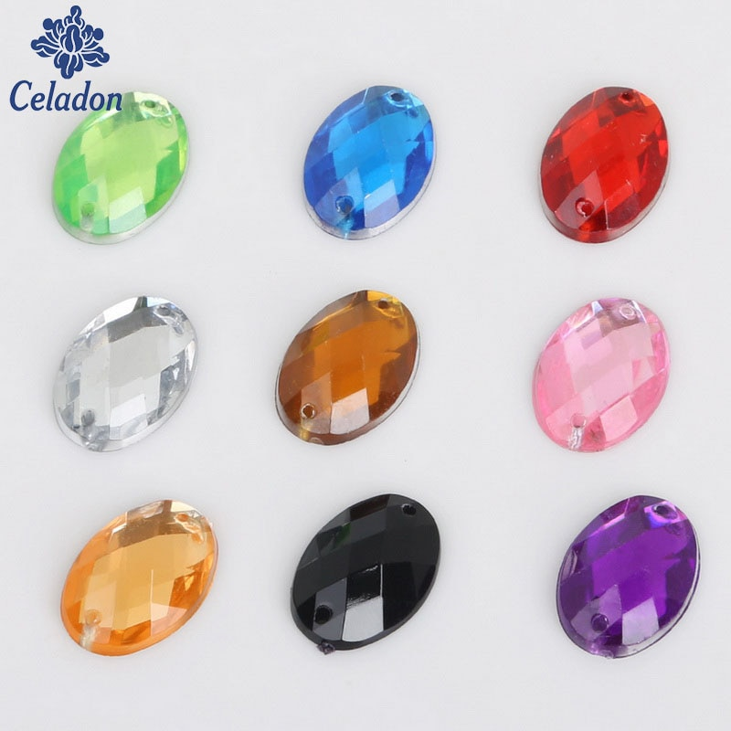 Pedra de Cristal de alta Qualidade Oval Chanfrada Costurar Broca 13 Cores 13x18 MM 50 pcs Para O Casamento/roupas/Sapato Decoração DIY Craft