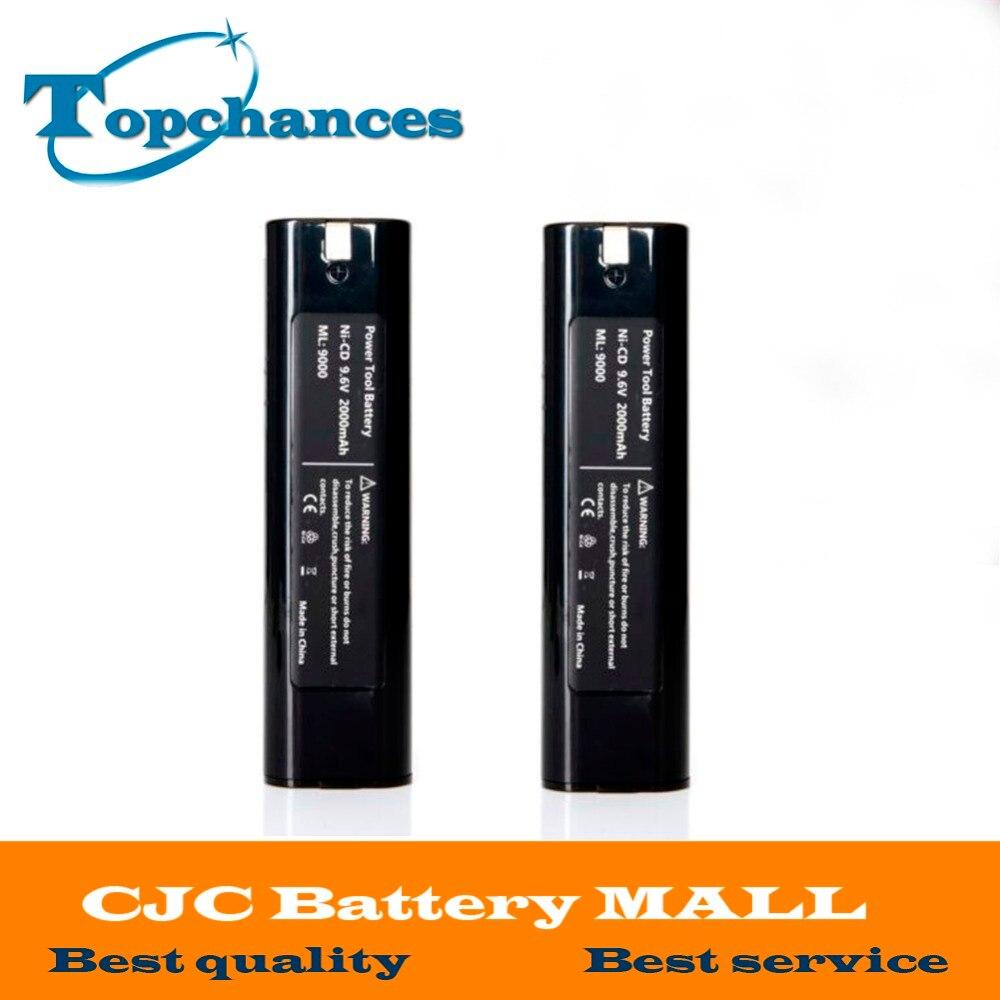 2x Haute qualité 9.6 V 2000 mAh 2.0Ah Batterie Pour MAKITA 9000 9002 9033 4093D 4190D 4300D 4390D 5090D