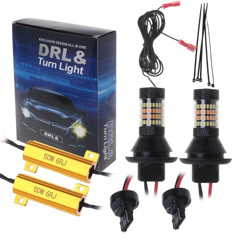 2 Pc T20/BAU15S 7440 96-Led 3014 50W Dual-Color Switchback Led Drl Richtingaanwijzer licht Kit