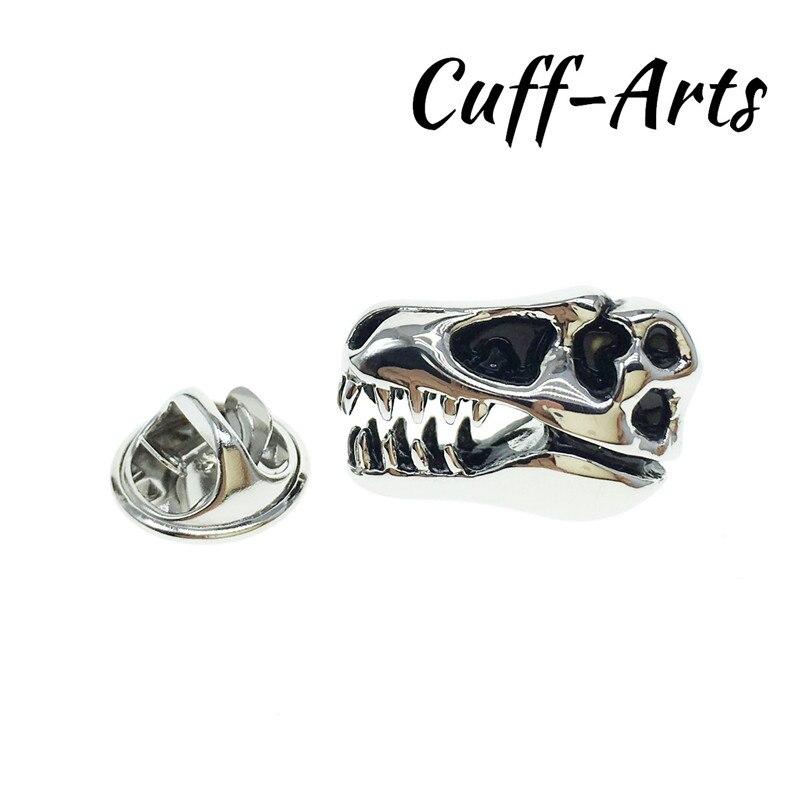 Broches de Pin de solapa para fiesta de hombre T Rex, broches de calavera de latón, accesorio para bufandas con caja de regalo de Cuffarts P10131