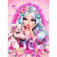 HOMHOL     peinture diamant theme dessin anime  jolie fille  broderie complete 5D  strass carres  image licorne  mosaique  decoration dinterieur  cadeau