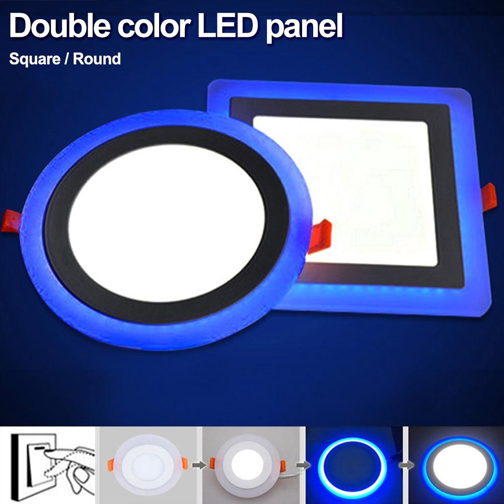 TSLEEN 5W 9W 16W 24W led techo empotrado panel de luz de pintura decoración cuadrado redondo Led Panel Downlight azul + blanco 2 colores