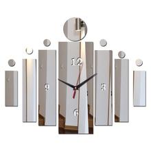جديد وصول الجدار ملصق الساعات ديكور المنزل الاكريليك مرآة سطح الحديثة نمط مربع الأثاث ملصقات الفن