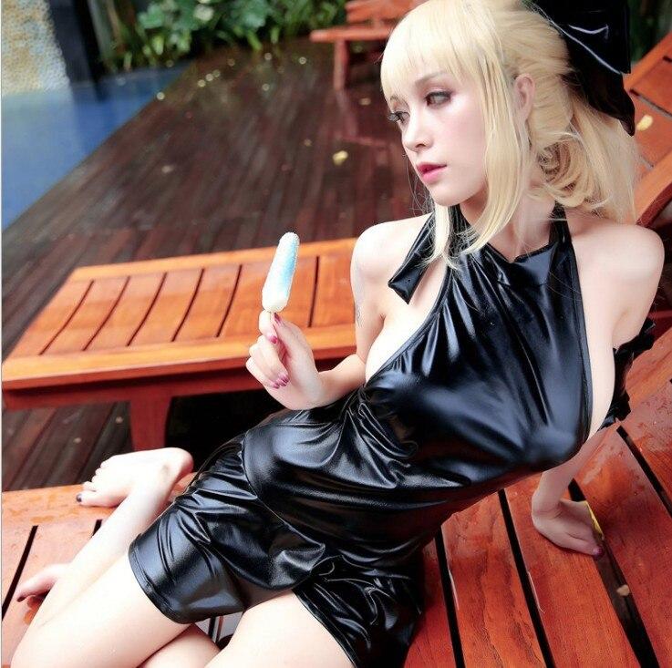 Halloween Japonês Anime Fate Zero Sabre Swimsuit de Uma Peça Sexy Preto Cosplay Costume Tankini Terno Corpo Magro SUKUMIZU
