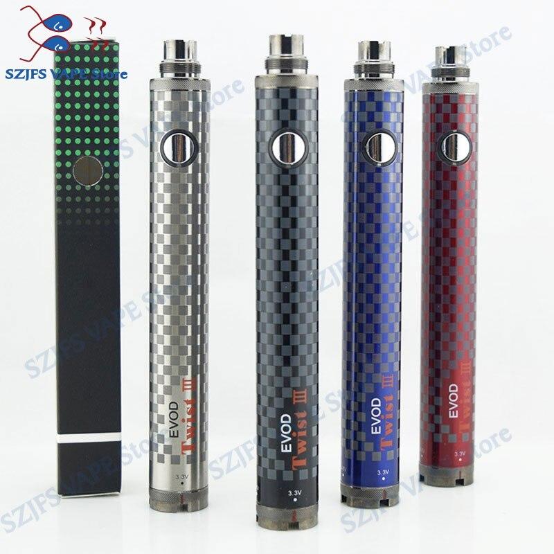 EVOD Twist III 3.3-4.8V Adjustable Voltage Electronic Cigarette 1600mAh  Battery vs Evod Twist II USB 510 Pass Through Vaporizer enlarge