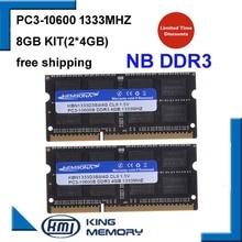 Kembona DDR3 1333Mhz 8GB (Kit de 2,2X 4 GB) PC3-10600 1333D3S9/4G nueva memoria ram SODIMM memoria ram para ordenador portátil