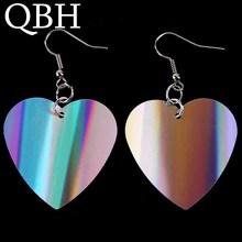 New Fashion Heart Drop Earrings for Women Statement Harajuku Rainbow Color Sequins Dangle Brincos Fashion Jewelry Bijoux