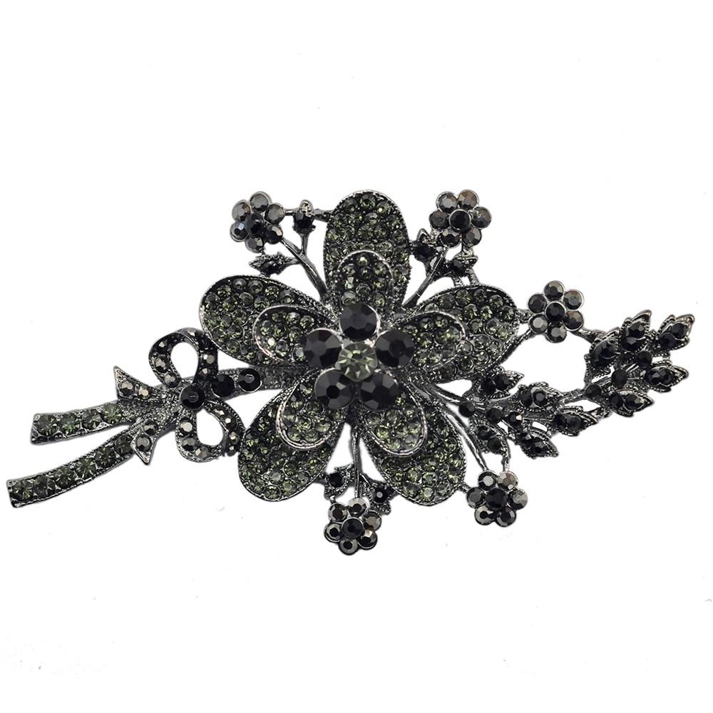 Hematite Crystal Rhinestone Flower Brooch Pin Bouquet Fashion Accessory For Women