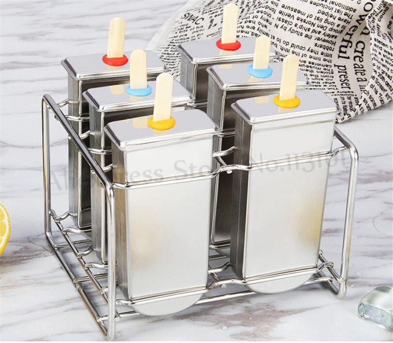 Форма для мороженого «сделай сам» из нержавеющей стали, держатель для палочки для мороженого, 6 форм/партия, форма для домашнего мороженого, ...