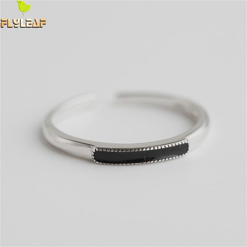 Flyleaf 925 Sterling Silber Ringe Für Frauen Rechteckigen Obsidian Femme Mode Edlen Schmuck Einfache Offenen Ring Hohe Qualität