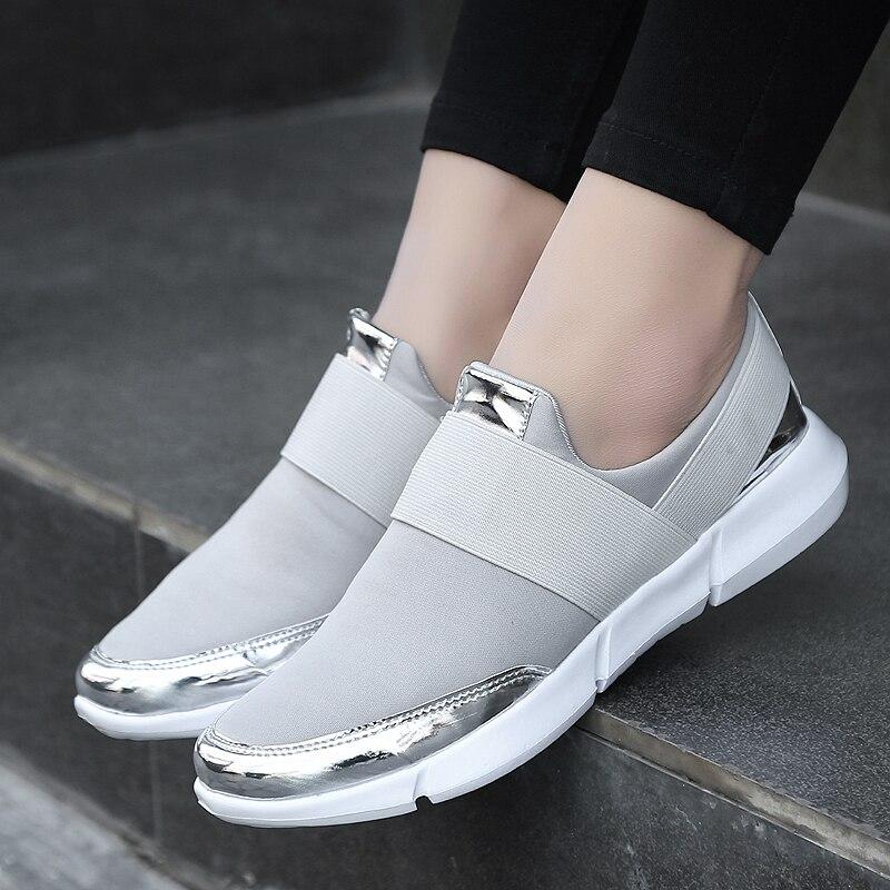 Zapatos informales para mujer, calzado para mujer, zapatillas con plataforma para mujer, zapatos vulcanizados, Tenis femeninos de color dorado y plateado 42