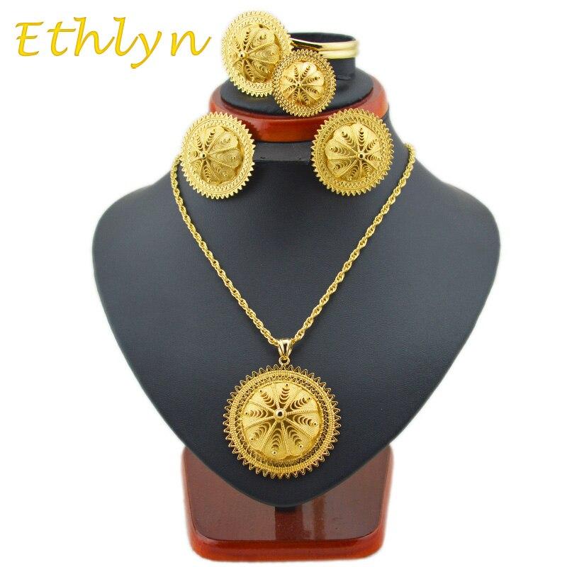 Ethlyn nuevo gran etíope boda juegos de joyería color dorado habesha de cinco Uds juegos para etíope tradicional FestivalS22