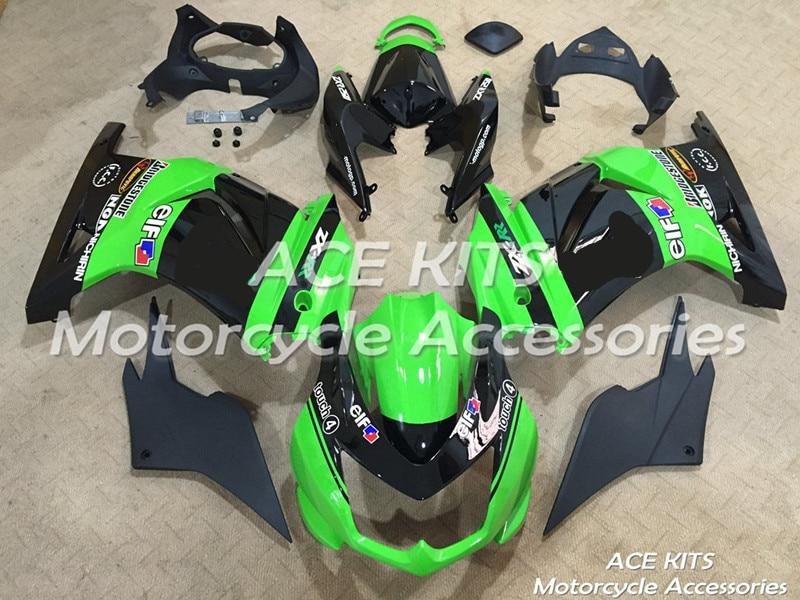 Nuevo carenado ABS para motocicleta Kawasaki Ninja250 2008-2012 Bodywor de inyección espectacular Verde Negro ACE No.855