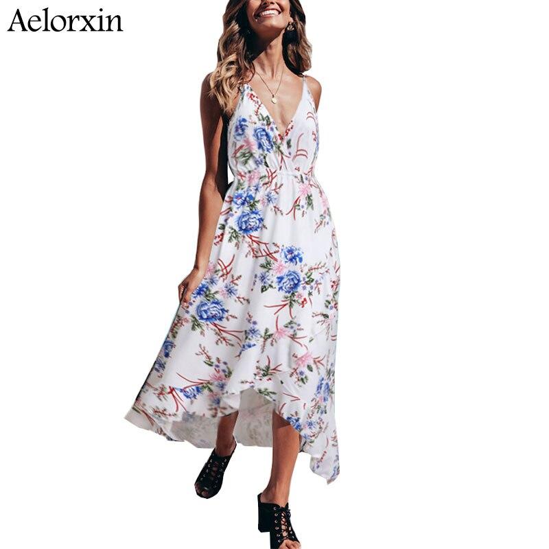 summer women dress 2019 V-neck elastic waist strap irregular plus sizedress  Leisure resort wind beach dress vestidos