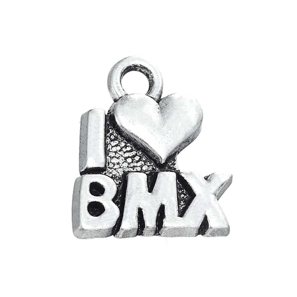 RAINXTAR moda alaşım I Love BMX mektubu Charms bisiklet Motocross 13*15mm AAC1408