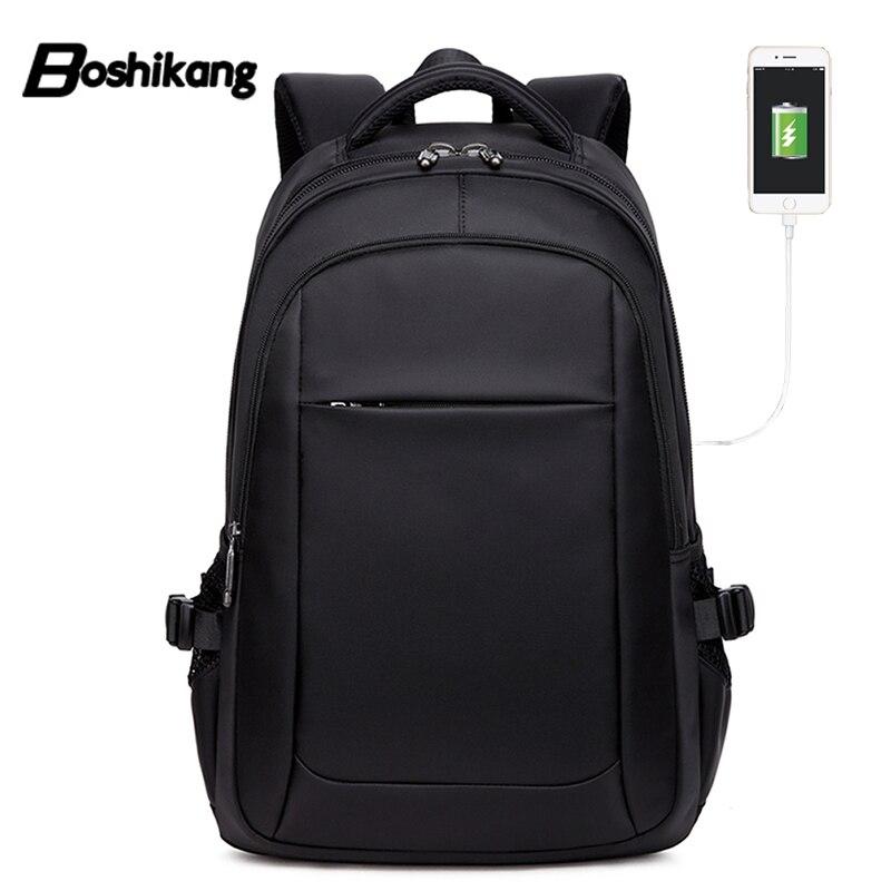 Mochilas de negocios con carga USB de 15,6 pulgadas Boshikang para hombre, mochilas escolares impermeables para ordenador portátil, mochilas de lujo para hombre