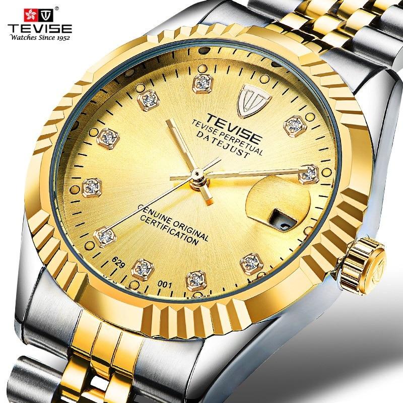 TEVISE Men Mechanical Watches Calendar Automatic Watch Men Diamond Business Causal Male Watches Luxu