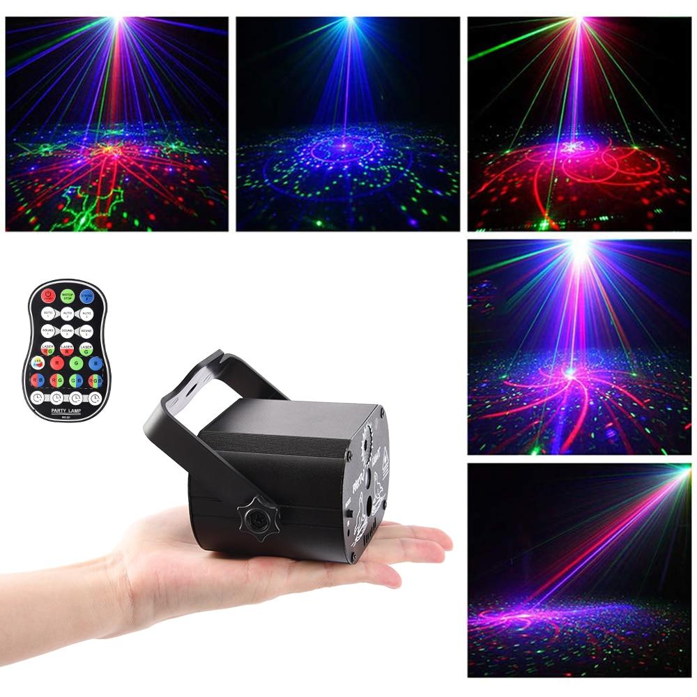 ضوء ديسكو Led ، ضوء المرحلة ، 60 وضعًا ، التحكم الصوتي ، جهاز عرض ليزر ، موسيقى ، مصباح تأثير RGB ، للعرض ، الحفلة ، مع وحدة تحكم