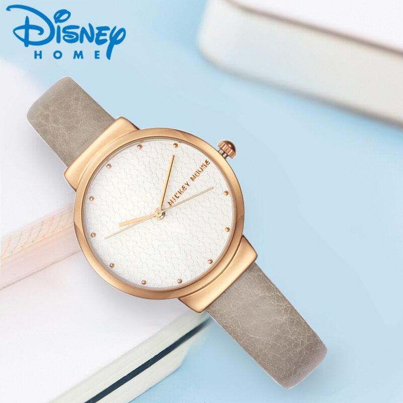 Reloj de cuarzo de diseño sencillo de Disney para mujer, minimalista, elegante, plateado, rosa, dorado, correa de cuero, reloj de moda, Whatch MK-11171