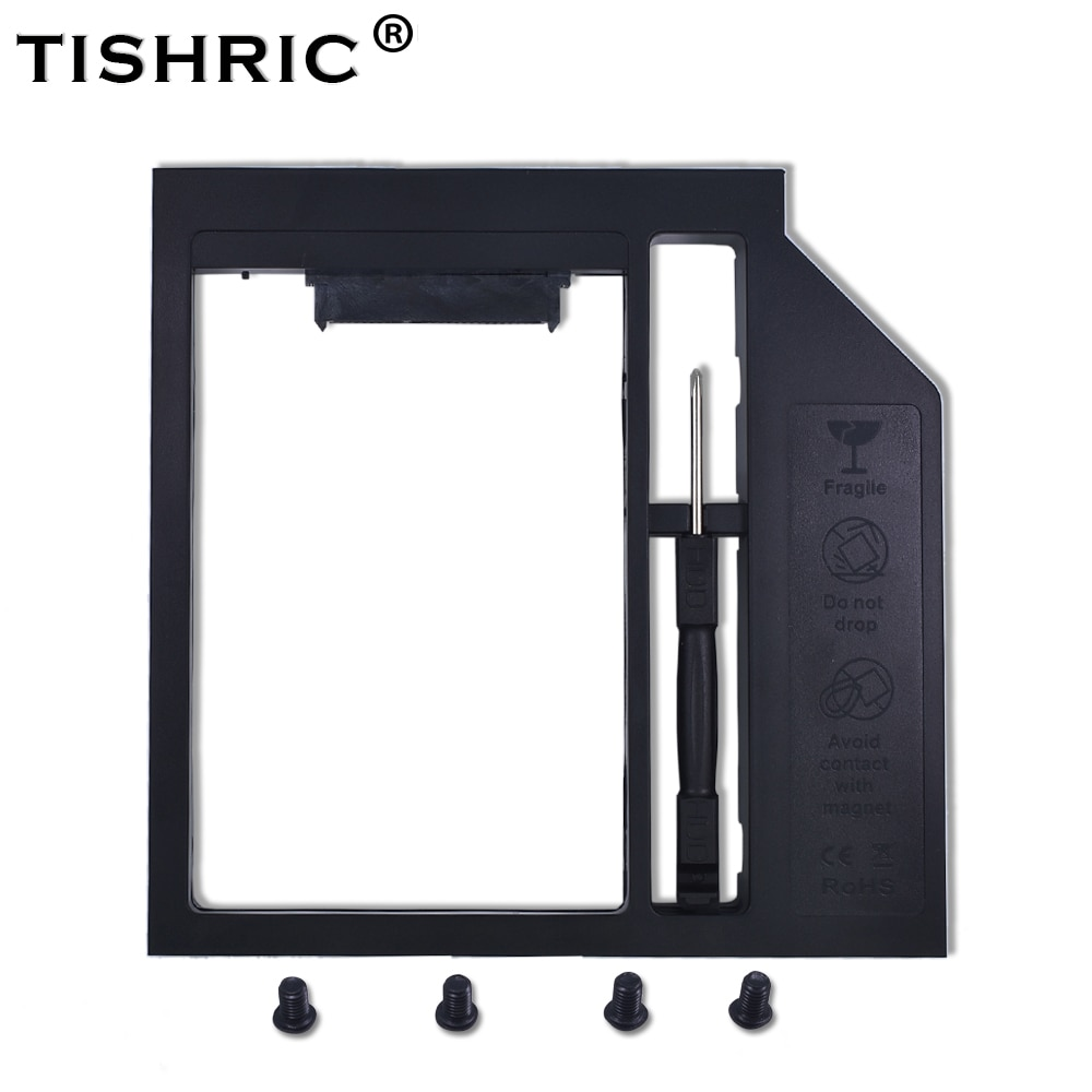 TISHRIC Универсальный 2-й 2,5 HDD HD SSD корпус SATA 3,0 Caddy 12,7 мм внешняя коробка для жесткого диска чехол адаптер Корпус для ноутбука DVD ROM Optibay