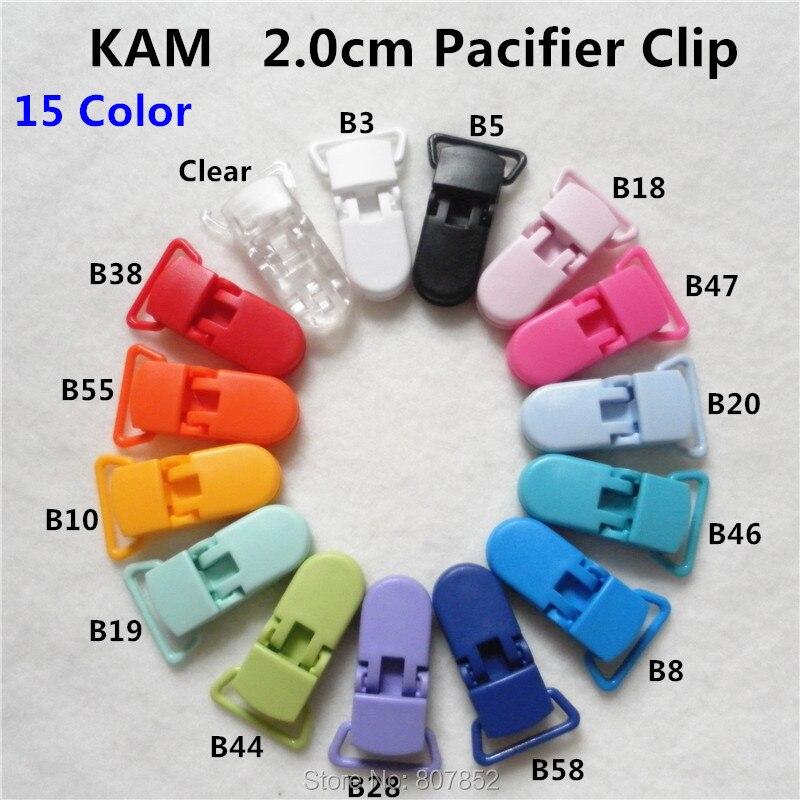 (15 colores mezclados) 150 unids/lote 20mm D forma Kam plástico chupete maniquí chupete sujetadores