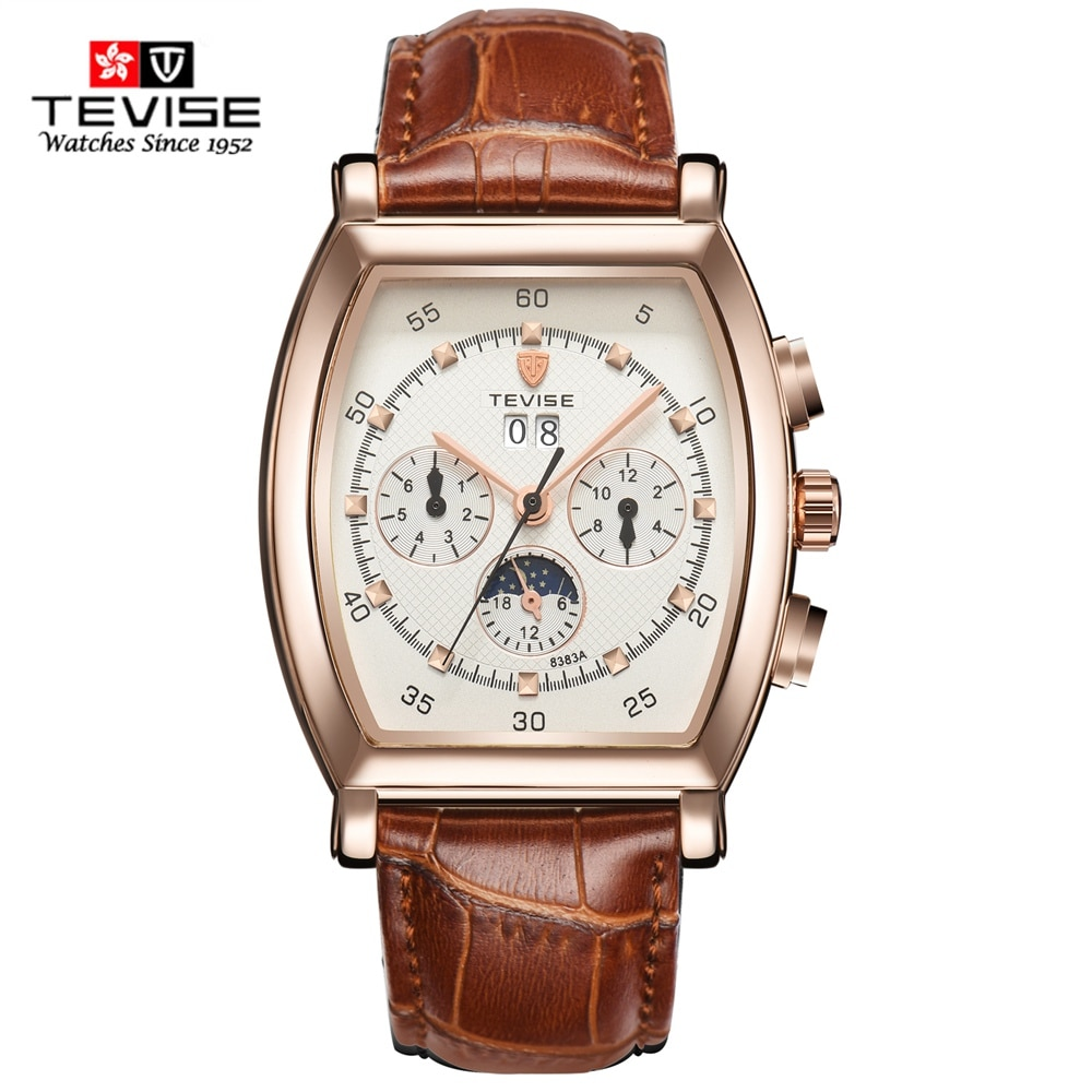 TEVISE Automatic Watches Men Waterproof Week Date Luminous Watch Moon Phase Male Clock Mechanical Wr