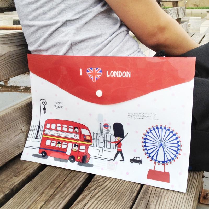 1PCs New British London Soldiers Bus Cartoon PVC Invoice Folder Pencil A4 Document File Bag E0056