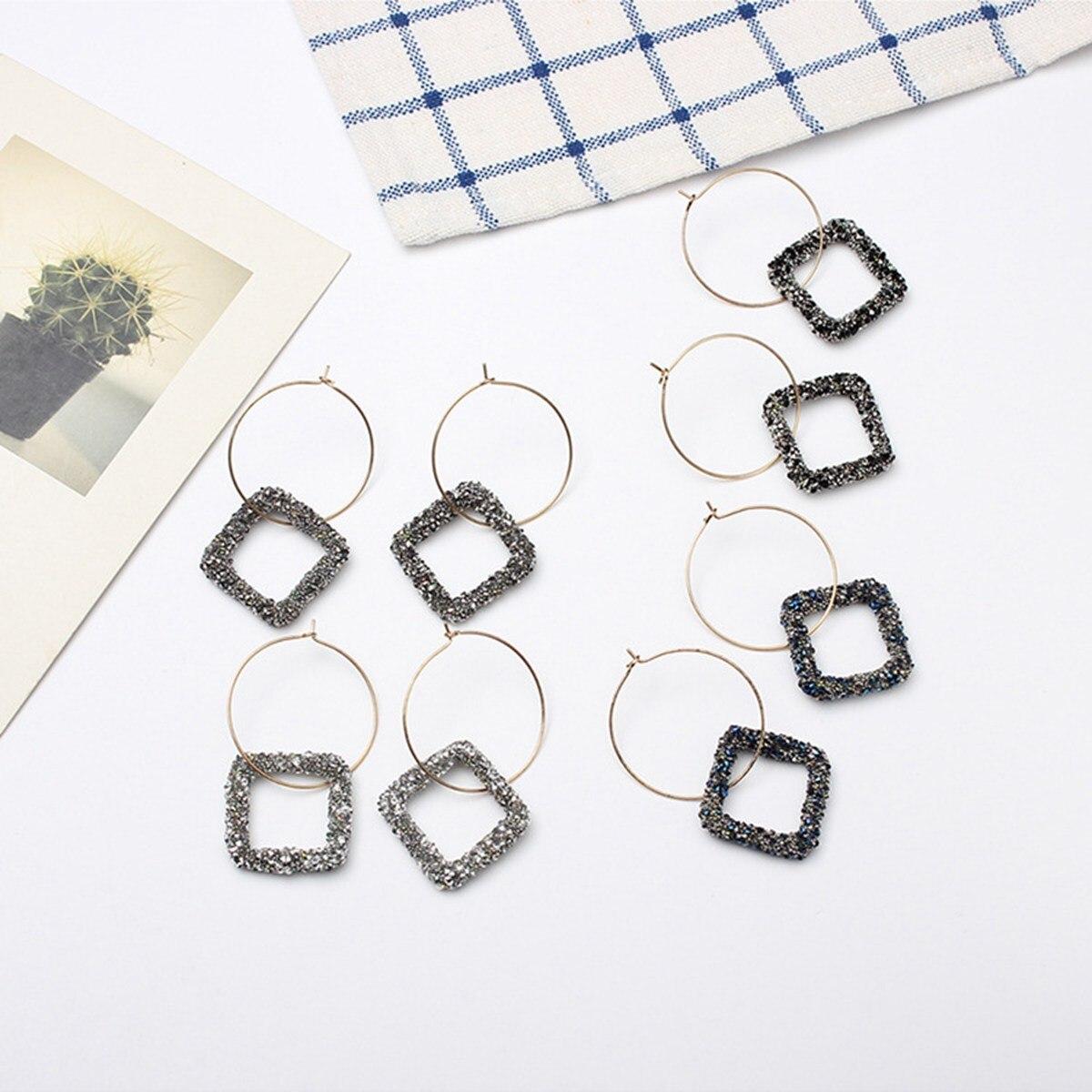 Pendiente aro grande de diamante cuadrado negro 2019, regalo para mujeres, pendientes de moda