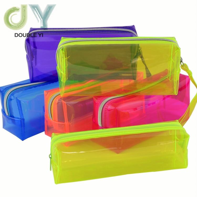 Transparente de alta calidad de color caramelo bolsa de lápiz soportes dulces caja de lápices de colores transparente caja de lápiz