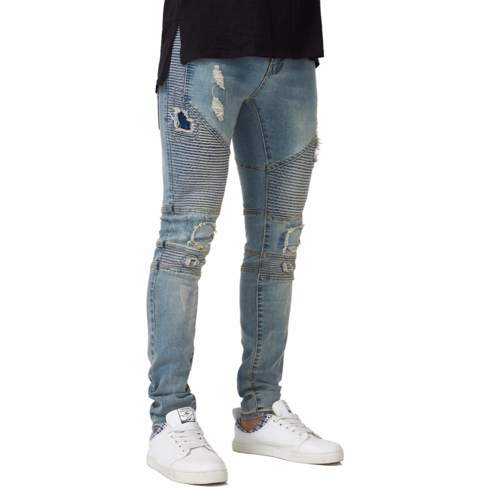 2018 New Men's Ripped Biker Skinny Jeans Stretch Elastic Fashion Pencil Jeans