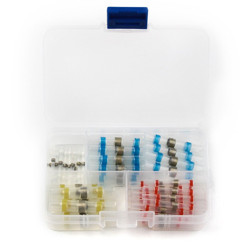 50 pces à prova dwaterproof água solda & selo calor psiquiatra conectores de extremidade luva de solda cabo de fio elétrico conector misturado 4 tamanhos com caixa