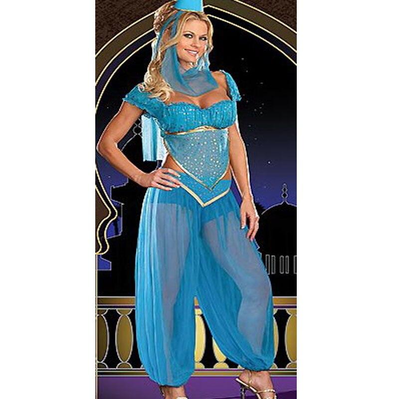 Envío Gratis Bule danza del vientre vestido de fantasía, burlesque disfraz de genio, Árabe halloween baile traje w1093