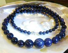 "Dd 6 - 14 mm Galaxy Staras Blue Sand Sun Sitara gemas granos redondos del collar 18 "" WW"