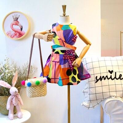 Baby Girl cotton linen Graffiti Impresso Waistless moda Vestuário Set Fot Meninas Miúdos Veste Camisas + saia 2 pcs Ternos