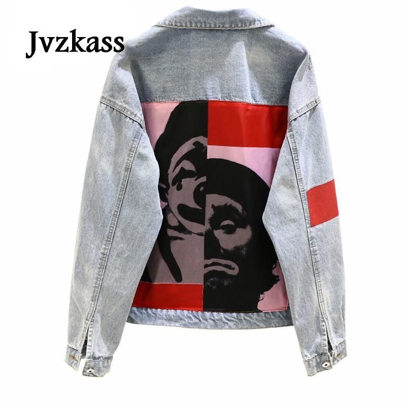 Jvzkass 2019 spring new Korean loose patch printed loose wild denim jacket female jacket Z121