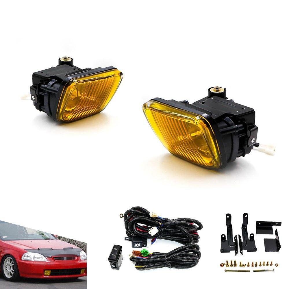 Cnspeed carro-estilo luz de nevoeiro para honda civic 96-98 2/3/4dr/branco/amarelo trabalho diurno farol led luz de nevoeiro xs100477