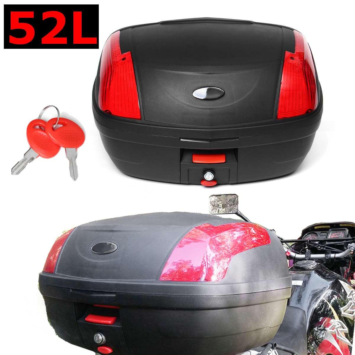 صندوق دراجة نارية أسود مع مزلاج أمان ، صندوق علوي مع قفل لسكوتر ، صندوق تخزين خلفي متين ، 55x42x32 سنتيمتر ، 52 لتر ، جديد