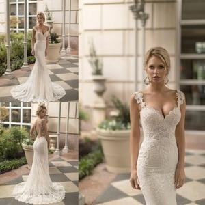 2019 Beach Mermaid Wedding Dress Spaghetti Straps Lace Applique Backless Beading Vestido De Novia Custom Made robe de mariee