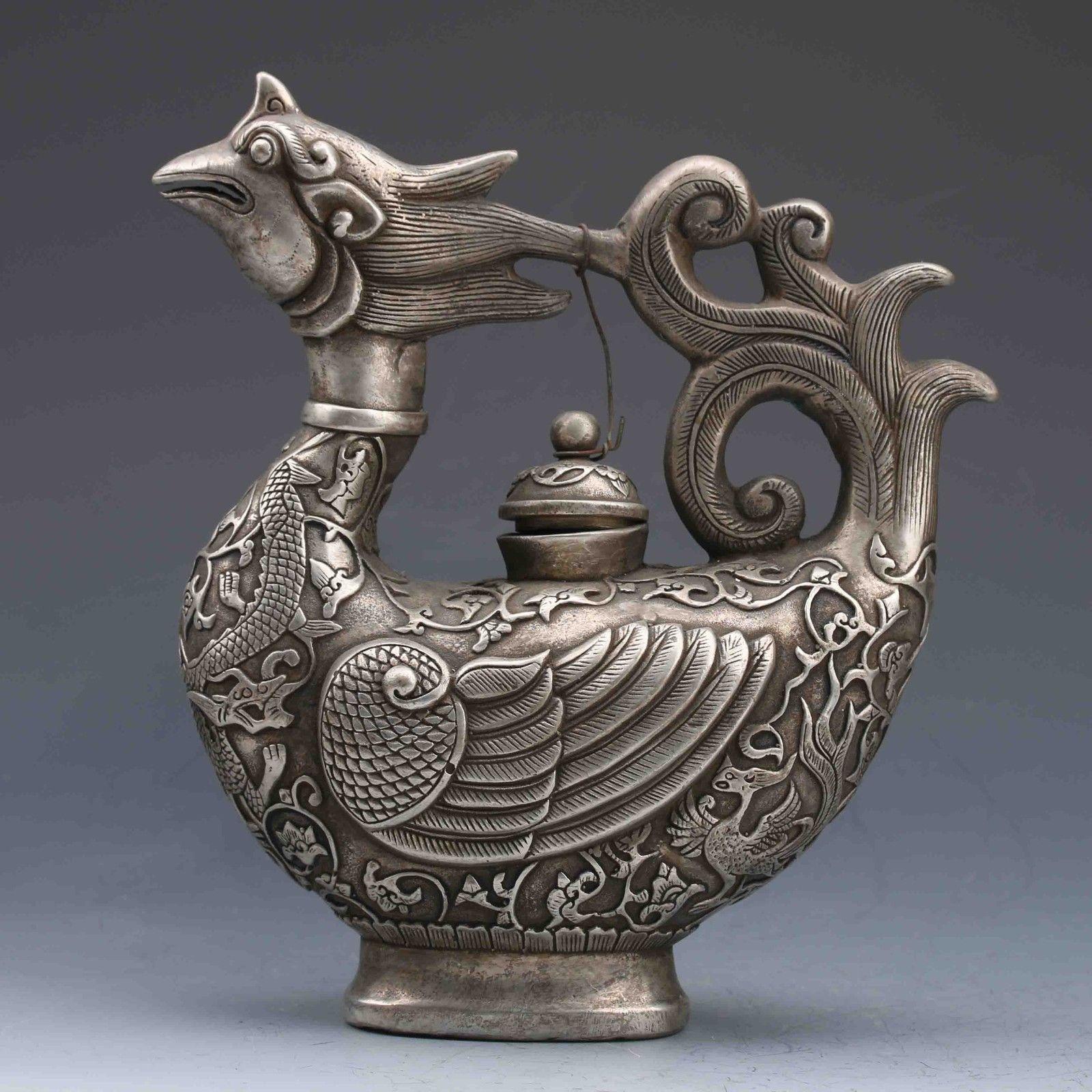 Colección Miao plata tallada a mano Fénix tetera Qianlong marca