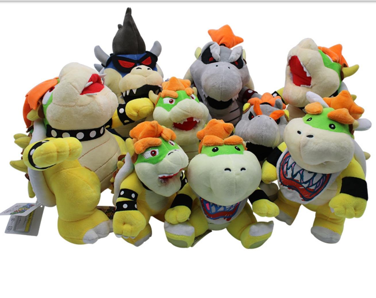 "7-12 ""18-31CM Koopa peluches de felpa Super Mario 3D tierra hueso Kubah Bowser dragón de peluche de juguete almohada de peluche huesos secos envío gratis"