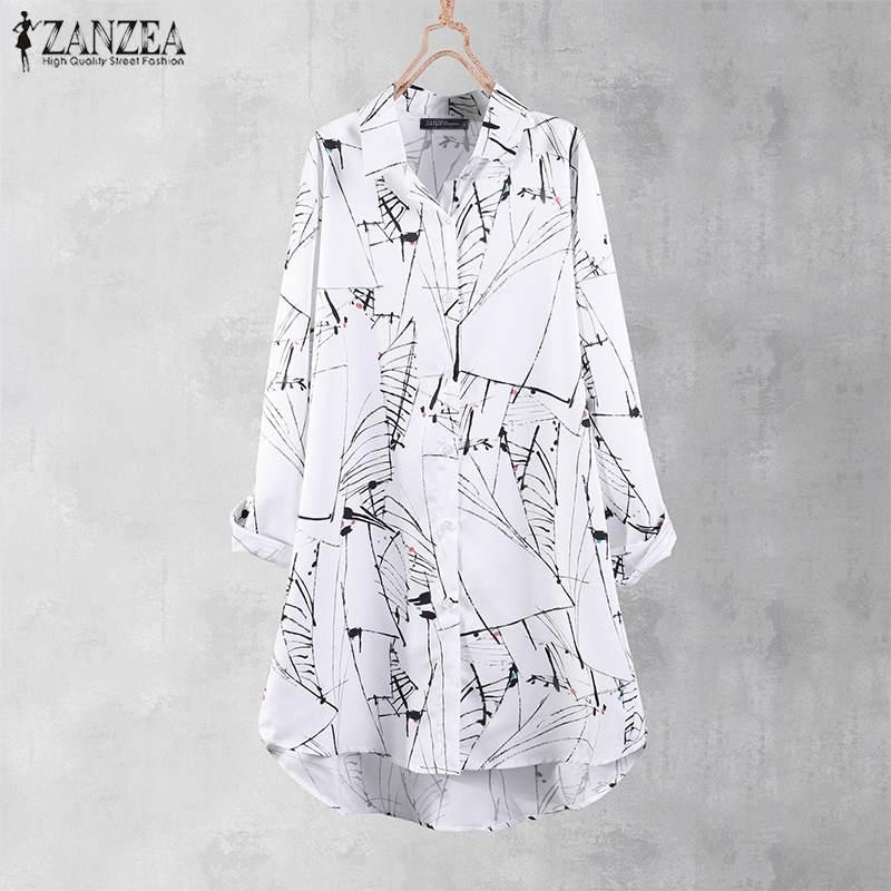 ZANZEA Streetwear Print Summer Long Shirt Women Autumn Blouse 2020 Casual Button Tee Shirt Chemise Female Long Sleeve Top Blusa